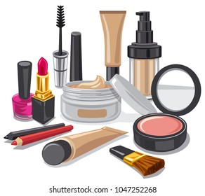 illustration of cometics and make up collection