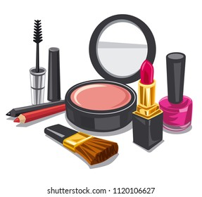 illustration of cometics and make up product collection