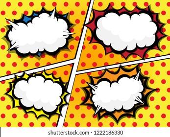 illustration of comic book speech bubble set vector background
