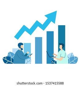 Illustration of communication characters about jobs, investment, communication graph in the digital age, data transmission