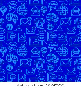 illustration of communication symbols seamless pattern