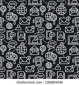 illustration of communication symbols seamless pattern