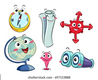 Illustration of a Compass, Map, Globe, Pin and Binocular Mascots for Navigation