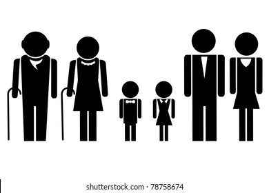 illustration of complete family icon standing together