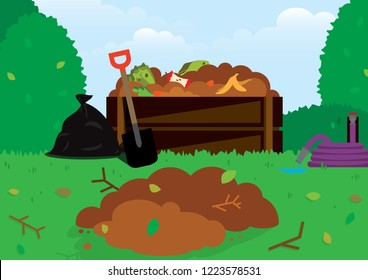 Illustration of Compost Poster Background Vector fit for using as go green and safe earth campaign decompose in landfill