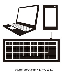 illustration of computer icons, iconography computer and keyboard, vector illustration
