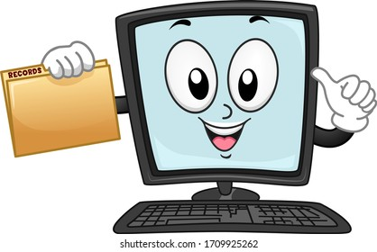 Illustration of a Computer Monitor Mascot with Keyboard and Holding a Folder with Records