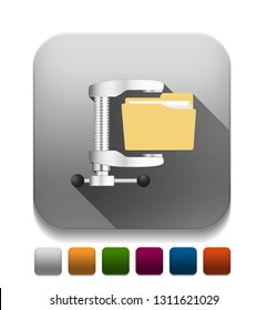 illustration of computer zip folder icon With long shadow over app button