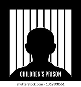 Illustration of Concept Art Depicting Child Abuse. Illustration of a Child Behind Bars. Children Affected Emotional and Physical Abuse