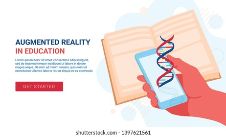 Illustration concept for augmented reality mobile application that let's you learn biology or medecine at school or university. Landing page web banner.