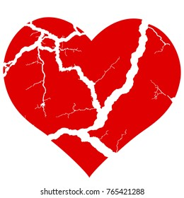 Illustration of the concept broken heart symbol