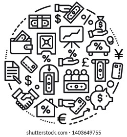 illustration of concept business finance icon black outline