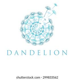 Illustration of concept dandelion. Vector logo