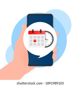 Illustration for concept design. Planner design. Clock icon vector. Time icon vector. Smartphone calendar.