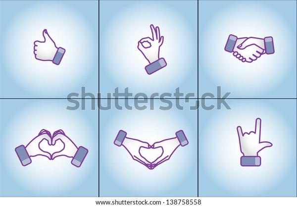 Illustration concept of Different social media style hand gestures - love, like, best, handshake, I love You