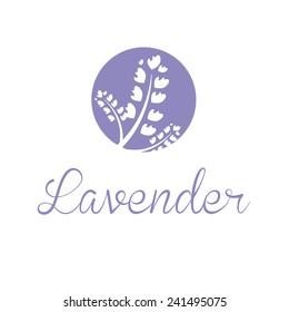 Illustration concept of emblem with lavender. Vector