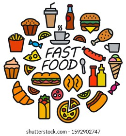 illustration of concept fast food icon and sign