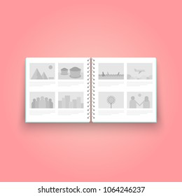 illustration concept flat style photo album on pink background, vector