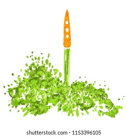 Illustration of the concept of a healthy lifestyle. Carrots with a halms, taking off like a rocket. Starting new healthy life concept.