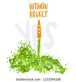 Illustration of the concept of a healthy lifestyle. Carrots with a halms, taking off like a rocket with lettering about Vitamin Rocket and Yes word. Starting new healthy life concept.