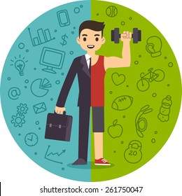 Illustration of the concept of life and work balance. Young businessman in suit on the left and in fitness gear with a dumbbell on the right. Background is separated into two thematic parts.
