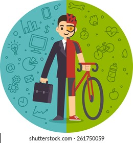 Illustration of the concept of life and work balance. Young businessman in suit on the left and with sports gear and a bicycle on the right. Background is separated into two thematic parts.