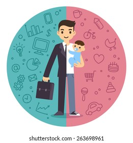 Illustration of the concept of life and work balance. Young businessman in suit on the left and with baby on the right. Background is divided in two thematic patterned parts.