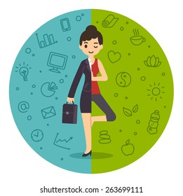 Illustration of the concept of life and work balance. Young businesswoman in suit on the left and doing yoga on the right. Background is divided in two thematic patterned parts.