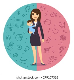 Illustration of the concept of life and work balance: young and pretty cartoon businesswoman in suit holding a baby boy. Background is divided in two theme patterned parts.