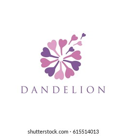 Illustration of concept logo of dandelion. Vector