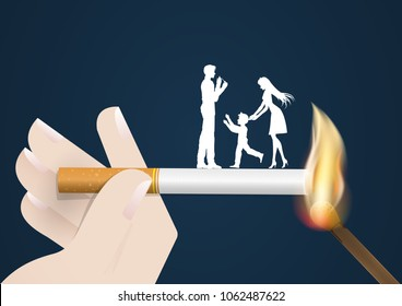 Illustration of concept no smoking day world,31 May,guy Cigarette lighter danger his wife and son same fired burn they by match.vector