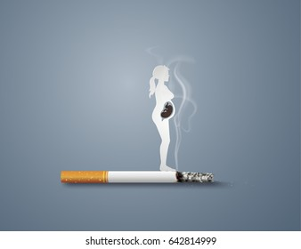 Illustration of concept no smoking day world with mom and baby,paper art  style.