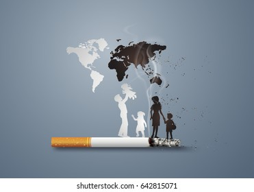 Illustration of concept no smoking day world with family,paper art and  digital craft style.