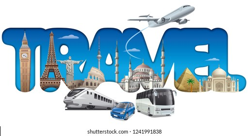illustration of concept sign for travel around the world