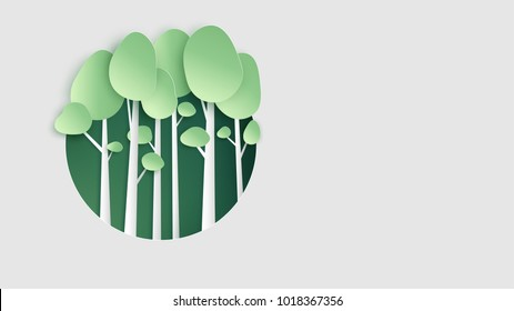 illustration of concept tree on green circle shape background with place for text space. tree paper art design. paper cut and craft style vector, illustration.