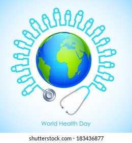 illustration of concept for World Health Day human icon stehescope around Earth