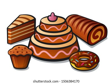 illustration of the confectionery tart and cakes