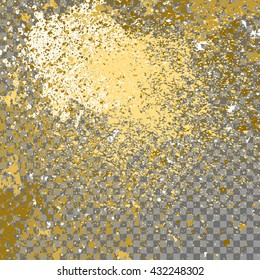 Illustration of confetti explosion effect isolated on transparent gray background. Space star explosion of paint splatter. Gold splash abstract background, blob frame vector illustration.