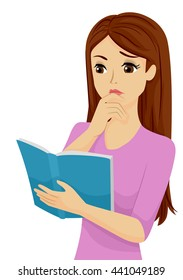 Illustration of a Confused Teenage Girl Reading a Book