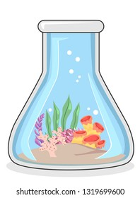 Illustration of a Conical Laboratory Flask with Corals and Ocean Water. Biological Oceanography.