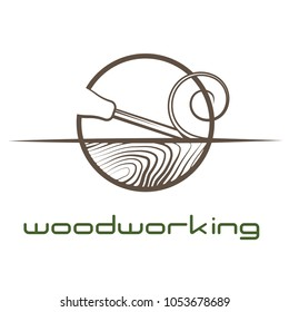 "an illustration consisting of an image of a chisel plowing a tree and the inscription ""woodworking"""