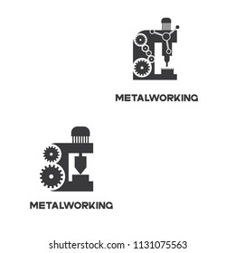 """illustration consisting of an image of the milling machine in the form of a symbol or logo and the inscription """"metalworking"""""""
