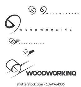 """illustration consisting of a picture of a piece of wood and the inscription """"woodworking"""" in the form of a symbol or logo"""