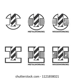 """illustration consisting of several images of milling cutters for wood and metal and the inscription """"woodworking"""" and """"metalworking"""" in the form of a symbol or logo"""