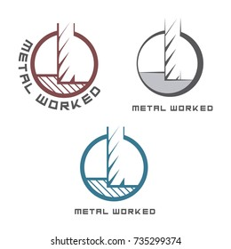 an illustration consisting of three different images of a milling cutter in the form of a symbol or logo