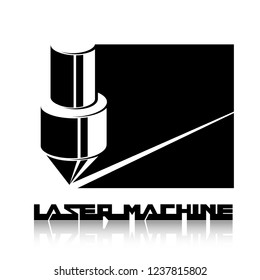 Illustration consisting of two machine images in the form of a symbol or logo. Laser cutting, engraving.