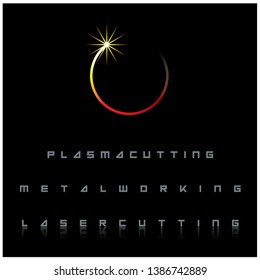 The illustration consists of a laser cutting nozzle in the form of a symbol or logo. Laser cutting engraving.