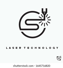 The illustration consists of a laser cutting nozzle in the form of a symbol or logo