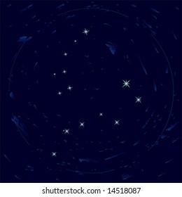 Illustration of constellations Ursa Minor and Ursa Major (Big Dipper)