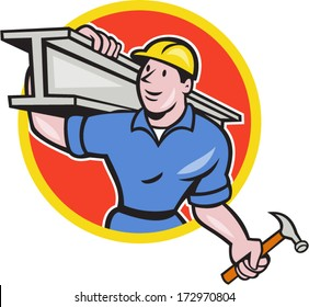 Illustration of construction steel worker carpenter carrying i-beam girder on shoulder set inside circle on isolated white background done in cartoon style.
